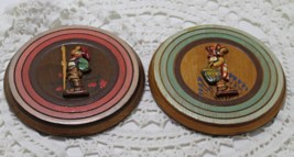 Vintage Dutch Girl & Boy Round Wooden Plaques Wall Hangings - $10.50