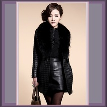 Long Black Quilted Faux Sheepskin Leather with Faux Raccoon Dog Fur Collar Coat