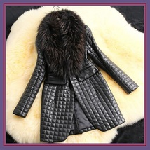 Long Black Quilted Faux Sheepskin Leather with Faux Raccoon Dog Fur Collar Coat  image 2