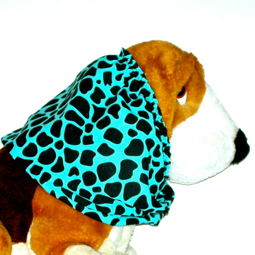 Dog Snood Turquoise Black Spotted Animal Print Cotton Cavalier  Puppy SHORT
