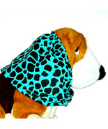 Dog Snood Turquoise Black Spotted Animal Print Cotton Cavalier  Puppy SHORT - $11.00