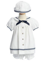 Baby Girl's Sailor Dress with Matching Hat   - $44.00
