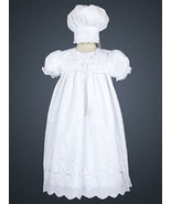 Baby Girls Embroidered Poly Cotton Christening Baptism Gown with Hat 0-3... - $40.00