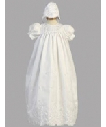 Baby Girls Embroidered Shantung Baptism Christening Gown and Bonnet 0-3 ... - $50.00