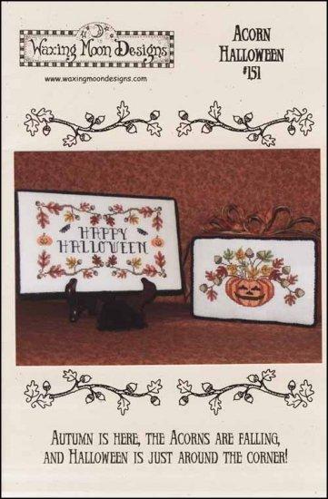 Acorn Halloween fall cross stitch chart Waxing Moon Designs