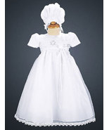 Baby Girls Embroidered Organza Christening Dress with Bonnet Size 3-6 Mo... - $49.00