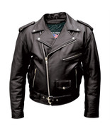 Allstate Leather Mens Tall Black Buffalo Leather Motorcycle Jacket AL2017 - $169.00+