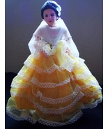 Vintage Woman Doll in Yellow Dress Hand Painted Face - $13.95