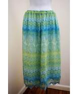 Worthington 8 10 12 Skirt Blue Yellow Floral Paisley Lace Trim Broom Sti... - $16.64