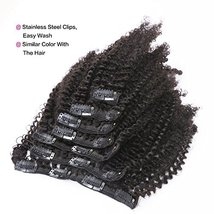 Anrosa Afro Kinky Clip ins Human Hair 1B Natural Black Afro Kinkys Curly Clip in image 5
