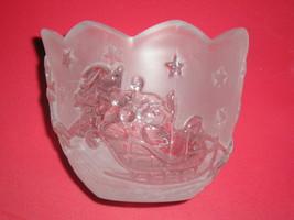 Mikasa Holiday Classics Crystal Santa & Reindeer Votive/Tea Light Candle Holder - $8.99