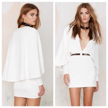 Oh My Love Cape Sleeve Dress Cream White with Gold Bar Belt Sz S ASOS *NEW* - $58.00