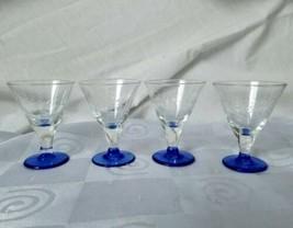 Set of 4 Vintage Cut Vines Crystal Cordial Stemmed Blue Footed Shot Glasses - $37.00