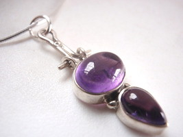 Purple Amethyst Oval Teardrop 925 Sterling Silv... - $12.86