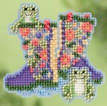 Garden Boots Spring 2015 Seasonal ornament pin kit cross stitch Mill Hill - $6.75