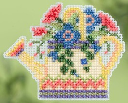 Floral Watering Can Spring 2015 Seasonal ornament pin kit cross stitch Mill Hill - $6.75