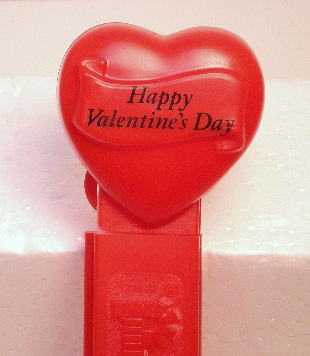 Pez Happy Valentines Day red heart introduced 1996 no feet