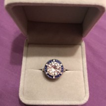 Vintage 3ct Diamonique 14K White Gold Over Sterling Silver Ring - $64.35
