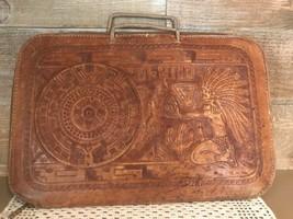 Leather Document Holder Case Engraved Mayan Calendar Vintage - $38.14
