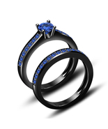 Black Rhodium Plated 925 Sterling Silver Blue Sapphire Bridal Ring In All Size 5 - £120.58 GBP