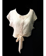 Cute Sexy Ivory or Black Crochet Cotton Lace Jr Crop Top Wrap w/Buttons/... - €12,45 EUR