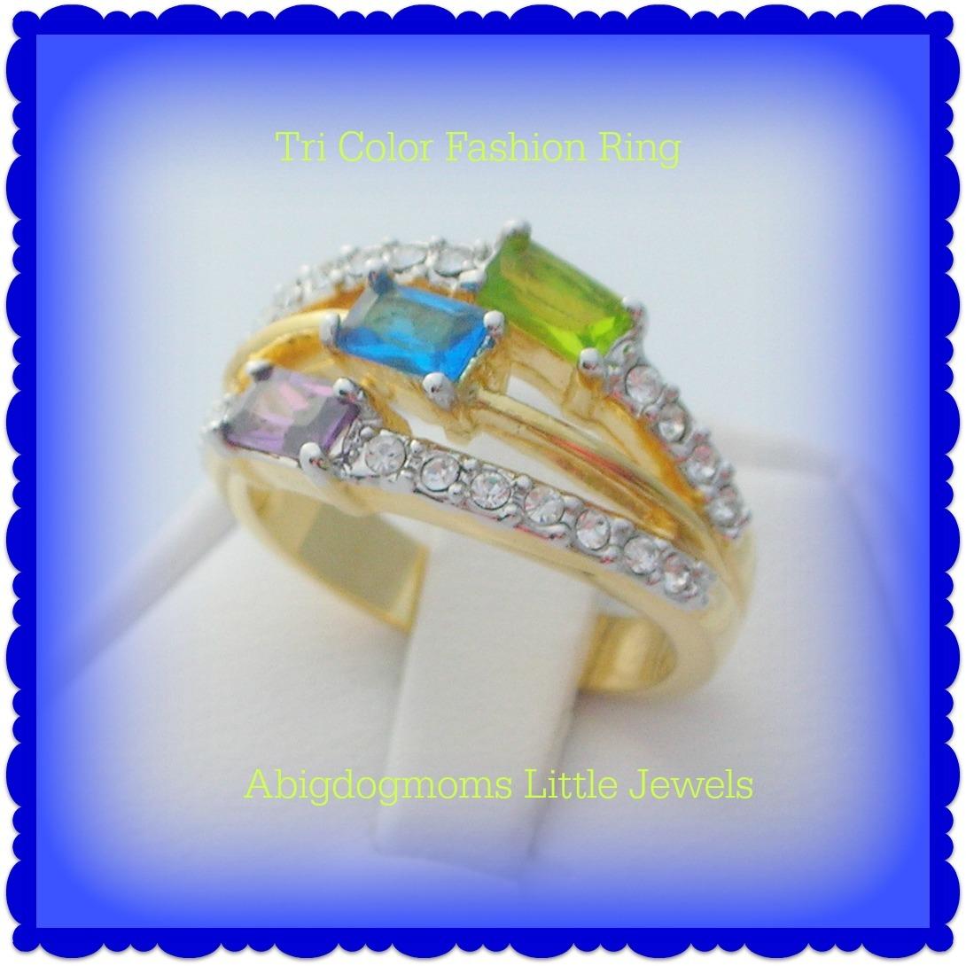 Peridot, Amethyst, Brazilian Blue Ladies Fashion Ring Size 5