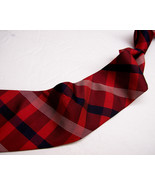 BANANA REPUBLIC  Red/Black/White PLAID  Mens 100 SILK  Necktie  416 - $15.99