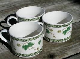 Ivy Charm by Sango 8854 LOT 3 FLAT CUPS Vintage Mugs - $18.69