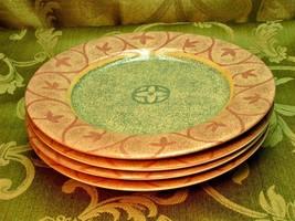 Intrigue by Sango 4889 LOT 4 SALAD DESSERT PLATES tan pink G51 - $37.39