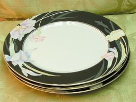 Charisma Black Mikasa China Lot 3 Dinner Plates Flowers Black G - $46.74