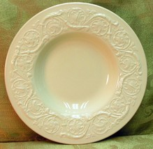 Patrician Plain Wedgwood RIMMED SOUP CEREAL BOWL off-white embossed rim ... - $42.06