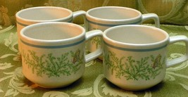 Fancy Free Lenox LOT 4 CUPS temperware vintage blue - $39.26