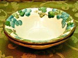 Sculptured Grape By Metlox Poppytrail LOT 2 RIMMED CEREAL BOWLS matte - $37.39