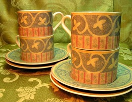 Intrigue by Sango 4889 LOT 4 CUPS + 4 SAUCERS tan pink G51 - $42.06