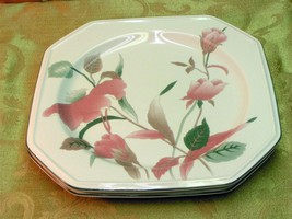 Silk Flowers By Mikasa Lot 3 Salad Dessert Plates Octagonal Pink Flowers Euc G66 - $42.06