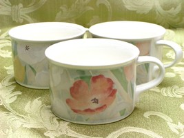 Cezanne by Mikasa CAC41 LOT 3 CUPS Intaglio flowers - $37.39