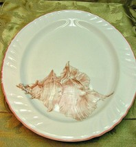 """Coquille Swirled by Fitz Floyd 16"""" OVAL SERVING PLATTER peach shell vint... - $154.26"""