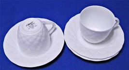 Palladio White by Mikasa Alessandro L9600 LOT of 2 CUPS + 3 SAUCERS quilted G56+ - $48.61