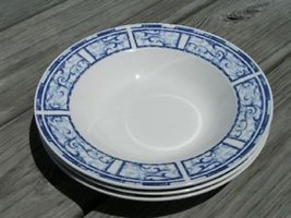 Breton Blue By Oneida China Lot 2 Rimmed Soup Bowls - $23.36