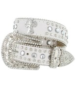 50121 Western Rhinestone Cowgirl Studded Crystal White Leather Cross Con... - $26.95+