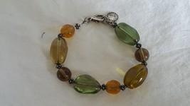 "8"" DESIGNER SIGNED AK ANNE KLEIN FAUX GLASS ART BRACELET, YELLOW GREEN, ... - $9.89"