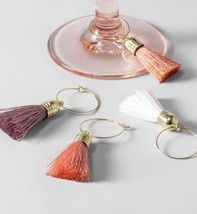 New Target Opalhouse Tassel Wine Charms Boho Pink Coral Set Of 8 - £8.40 GBP