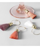 New Target Opalhouse Tassel Wine Charms Boho Pink Coral Set Of 8 - $11.69