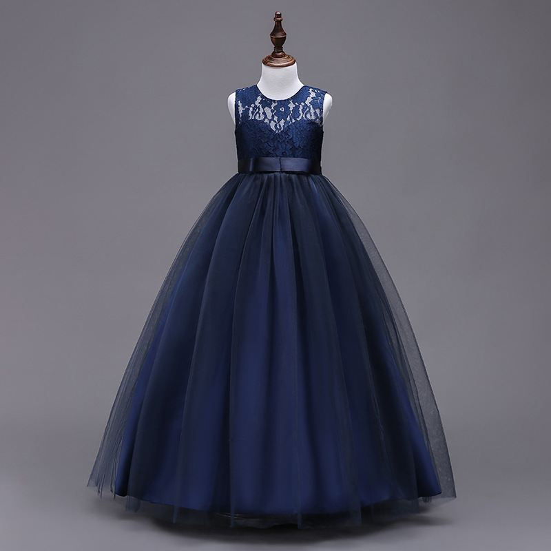 Primary image for Girls Mesh Lace Wedding Party  Dress Ankle Length Elegant Ball Gowns in 7 colors