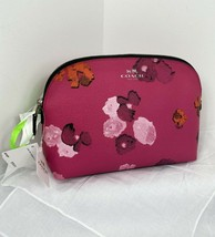 New Coach Cosmetic Bag Pink Floral Print Zip Coated Canvas F53131 MSRP $... - $88.19
