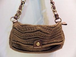 Vintage SAK Crochet Handbag Shoulder Beige Metallic Gold Threads Bronze Leather - $19.30