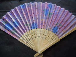 Beautiful Silk Fan with Flowers and Stars Handheld Fan Folding Fans Asia... - $9.99