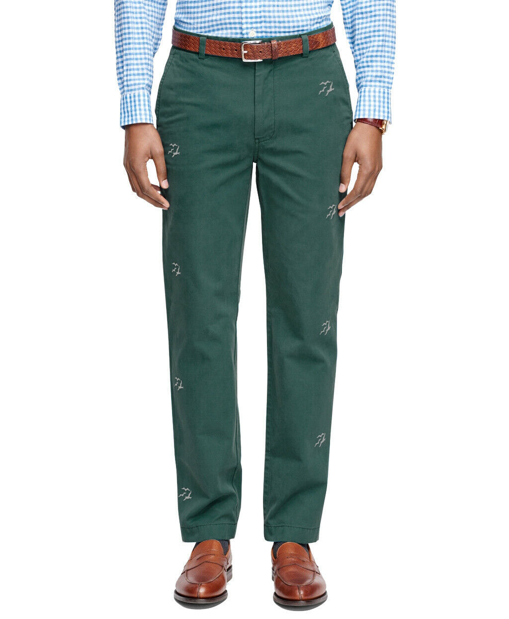 Primary image for Brooks Brothers Men's Milano Fit Seagull Embroidered Chinos, Green (35x32)5342-9