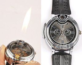Refillable Rechargeable Butane Gas Cigarette Lighter smoker Watch Multi-function