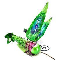 Painted Metal & Glass Solar Powered Light Garden Decoration Hummingbird Decor image 4